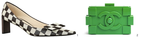 Photos: 1. Louis Vuitton Checkerboard Pump; 2. Chanel Lego Minaudiere