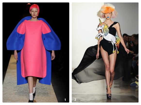Photos: 1. Yannis Vlamos / Style.com -- Comme des Garcons FW12 Paper Doll; 2. Getty Images -- Jeremy Scott FW12 Rainbow Brite/My Little Pony