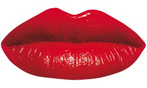Measure: Bright red lips against a white background