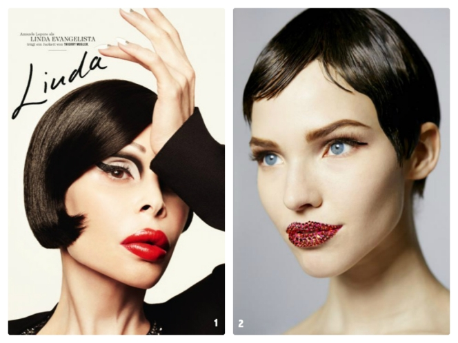 1. Photo: Marcus Ohlsson for Tush -- Amanda Lepore channeling Linda Evangelista; 2. Photo: Dior.com - Beauty look from 2013 couture show