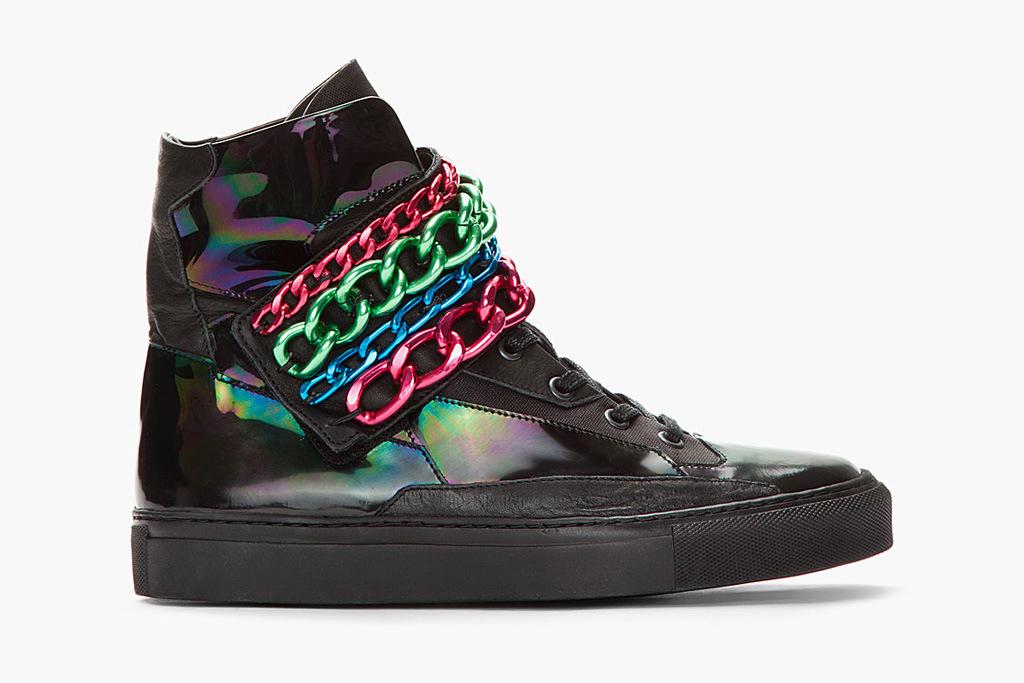 196cc833e8834e the kiosk -- Raf Simons Black   Tricolor Chained Velcro Sneaker