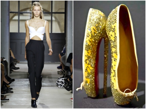 Left: Monica Feudi / Feudiguaineri.com -- Opening Look from Balenciaga's SS13; RIght: Christian Louboutin Ballerinas en pointe