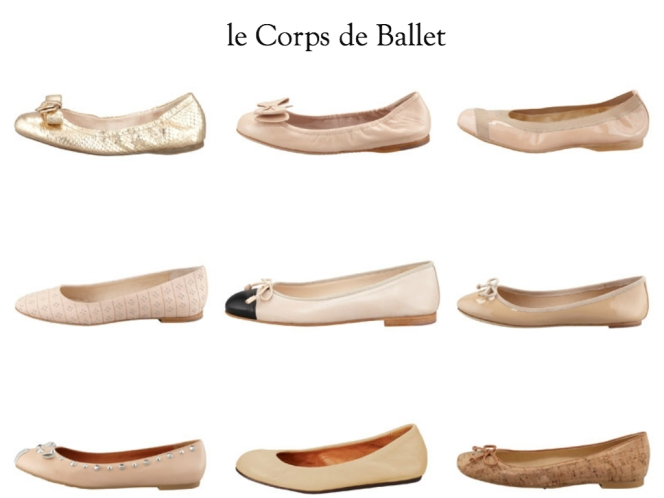 Bergdorf Ballerinas (www.bergdorfgoodman.com) Clockwise from top left: Prada Metallic Python Embossed; Miu Miu Ballerina Bow; Stuart Weitzman Tipable-Elastic Trim; Tory Burch Chelsea Bow-Tie Patent;  Stuart Weitzman Stringon Cork; Lanvin Scrunched Leather; MARC by Marc Jacobs Studded Mouse; Chloe Studded Ballerina; Prada Bicolor Captoe