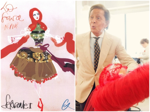 Right: Anne Deniau -- Christian Lacroix's design for La Source; Left: Christopher Anderson / Magnum -- Valentino at the New York City Ballet Costume Shop