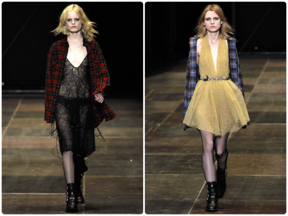 Photos: Marcus Tondo via Go Runway on Style.com -- Several Courtney Love Inspired Looks from Saint Laurent's FW13-14 Collection