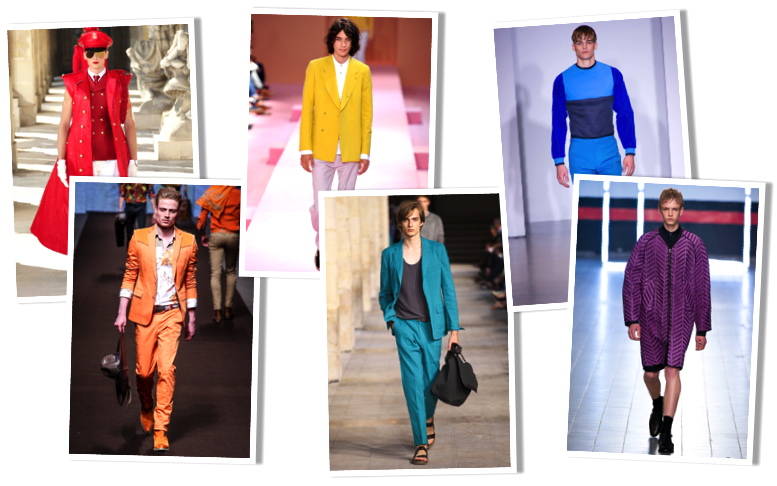 Photos: GoRunway via Style.com -- Red (Thom Browne); Orange (Etro); Yellow (Paul Smith); Green (Hermès); Blue (Calvin Klein Collection); Purple (Damir Doma)